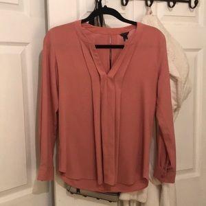 Ann Taylor pink long sleeve blouse